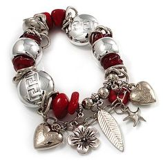 Silver Tone Red Coral Charm Flex Bracelet Avalaya. $25.92. Metal Finish: rhodium plated. Material: glass. Occasion: anniversary, club night out, cocktail party, going to theatre. Type: bead jewellery, chunky, stretchy. Theme: floral, heart, starfish