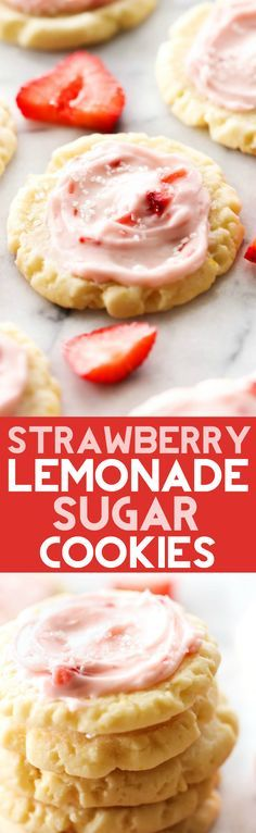These Strawberry Lemonade Sugar Cookies are so easy and taste amazing! The strawberry and lemon flavors fuse together in both cookie and frosting and combine for an out of this world cookie!