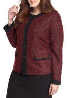 Kasper  Plus Size Tweed Four Button Jacket