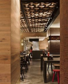 Modern Japanese Style Restaurant colour palette black red warm timbers3