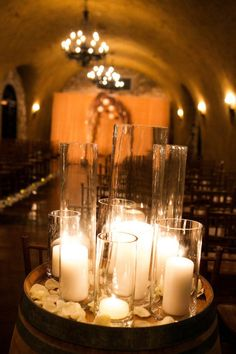 Really like use of multi height candles AND made me think of use of mirrored or other trays in decor?