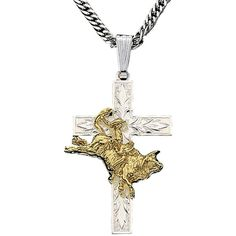 Montana Silversmiths® Silver & Gold Cross with Bullrider | Cavender's... ($45) via Polyvore