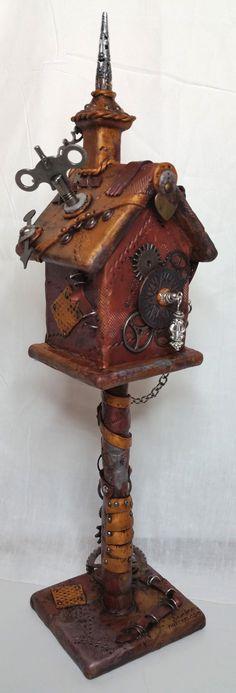 Steampunk Polymer Clay Birdhouse by NyliramClayFun on Etsy