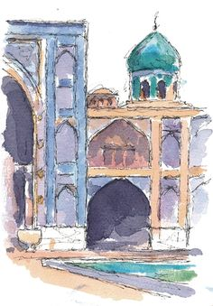 Esfahan, Iran. Watercolours by Ole Sondergaard