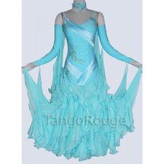Aqua Ballroom Standard Ruffle Dance Dress