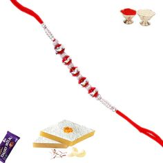 Silver And Red Fancy Red Bead Rakhi