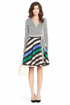 Amelia Silk Combo Wrap Dress | Dresses by DVF