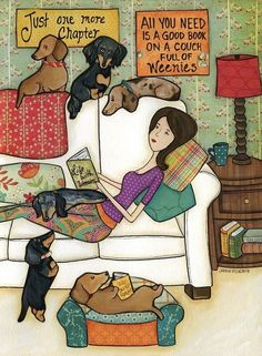 Books and Weenies, dachshund with lady on couch reading book art print, doxie wood ornament, black and tan dachshund, dapple dash Dachshund Funny, Mini Dachshund, Dachshund Puppies, Weenie Dogs, Chihuahua, Daschund, I Love Dogs, Cute Dogs, Black And Tan Dachshund