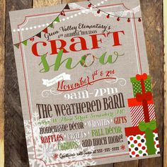 Holiday Craft Show Flyer - Holiday Boutique Invitation - Craft Fair Invitation - Christmas Vendor Show Flyer by Jalipeno Digital Art on Etsy. Check the shop for more printable advertising!
