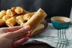 Recipe for Filipino Egg Rolls (Lumpia - Lumpiang Shanghai) filled with ground pork or beef, onions, garlic, and carrot or cabbage