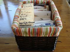 How to organize coupons - a bit of a big container, but I like that the container idea allows for decorating.. ;)