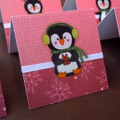 Penguins and Snowflakes Mini Cards or Gift Tags 2x2 (6) by PeculiarParchment on Etsy