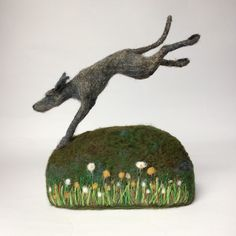Needle felted running dog sculpture