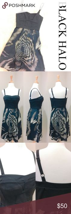 Black Halo Corset Top with Printed Skirt Dress Black Halo-Corset like top with black & ivory printed skirt in Size-0.  Size zipper with hook & eye, adjustable straps. Top has slight stretch (refer to picture with fabric content)        Made In 🇺🇸 Black Halo Dresses Midi