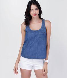 Regata em Jeans com Bolso - Lojas Renner. Blusa Azul MarinhoSaia ... 07b09c21d39