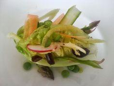 Decorated baby gem salad lemon vinaigrette dressing  #foodporn #fine #dining #gastronomy #plating