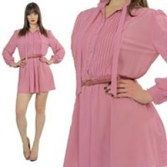 Vintage 80s SHEER belted button up tie bow Secretary Boho mini dress party glam