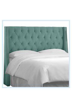 Velvet Tufted Headboard, Full Headboard, Queen Headboard, Find Furniture, Bedroom Furniture, Mint Green Bedding, California King Headboard, Full Bed Frame, Nailhead Trim