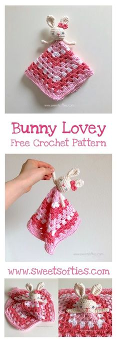 Free crochet bunny rabbit animal doll lovey safety blanket baby childs toy kids cute kawaii simple beginner easy diy handmade amigurumi fast fast project sweet softies design pink pastel girly female little girl princess present bow. Crochet Simple, Crochet For Kids, Crochet Children, Free Easy Crochet Patterns, Easter Crochet Patterns, Crochet Gifts, Crochet Dolls, Kawaii Crochet, Crochet Baby Toys