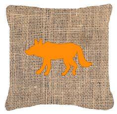 Wolf Burlap and Orange Canvas Fabric Decorative Pillow BB1123