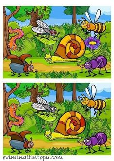 Find out the Differences - Dyslexia Activities, Preschool Learning Activities, Fun Learning, Find The Difference Pictures, Spot The Difference Kids, Fun Worksheets For Kids, Circle Time Activities, English Lessons For Kids, Hidden Pictures