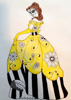 Sugar Skull Disney Princess Belle Pen and by SpunSugarMenagerie, $30.00