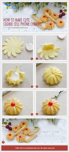 How to make cute cookie cell phone charms - stuffed toy pattern sewing handmade craft idea template inspiration felt fabric DIY project children food play Felting Tutorials, Craft Tutorials, Felt Diy, Felt Crafts, Felt Food Patterns, Felt Play Food, Pretend Food, Cute Cookies, Felt Fabric