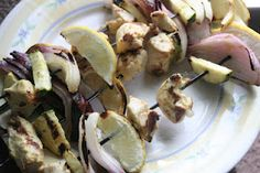 Djion Chicken Zucchini and Lemon Kebabs