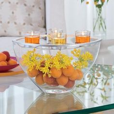 So bright and cheerful! #centerpiece #candles http://www.partylite.biz/legacy/sites/nikkihendrix/productcatalog?page=productdetail&sku=P91391&categoryId=58466&showCrumbs=true