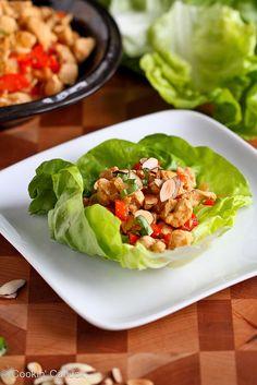 Almond & Basil Chicken Lettuce Wraps Recipe   cookincanuck.com #chicken #recipe