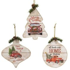 Christmas Truck Ornament  (3 Count Assortment)
