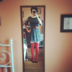Dress by Mimi Chica (via Nordstrom Rack), thrifted belt, socks by Hansel From Basel, shoes by B.O.C.