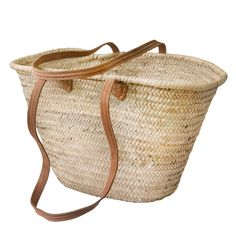 Shop Natural Basket long Flat Leather Handle French baskets workshop, Moroccan handwoven baskets,