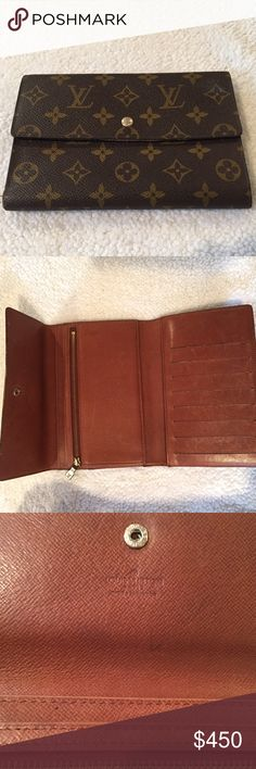 Authentic Louis Vuitton Monogram canvas wallet! Previously loved LV Monogram canvas wallet. Has zipper compartment for coins and lots of room for credit cards. In excellent used condition. Only shows minimal signs of use on the inside. Louis Vuitton Bags Wallets