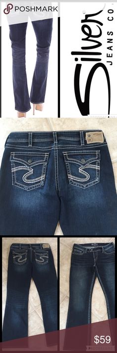 """✨SILVER Jeans SILVER """"Tuesday Flap"""" jeans.  Waist is 32"""", length is 31"""".  Button flap back pockets.  Dark wash.  I think these would be classified as boot cut - leg bottom measures 9"""" across when set flat.  Only worn a few times - excellent condition! Silver Jeans Jeans"""