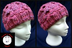 Warm & cosy hand knitted thick cabled beanie hat in 'Carnation' pink. Handknit hat. Knit hat. Wool hat - pinned by pin4etsy.com