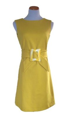 vintage 60's carole king MOD yellow shirt dress