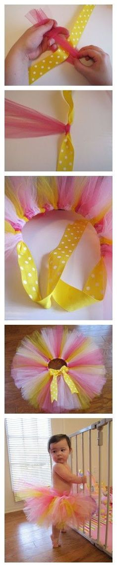 this is a better way to make a tutu than with the elastic. Tying it is way easier.
