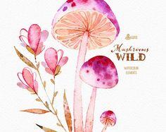 Wild Mushrooms. 41 Watercolor separate elements autumn