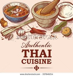 Hand drawn illustration of Thai food and ingredients