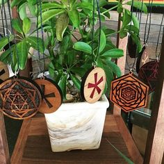 If you're in Bend, Oregon, go check out our friends @tokyostarfish! They've got our designs plus some custom logo inlays. And some great looking greenery  #lasertrees #tokyostarfish #bend #oregon #sacredgeometry #pendant #pendantsofig #woodart #wearableart