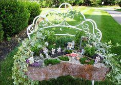 My Fairy Garden's best fairy garden 'container' An old bench turned into a fairy garden