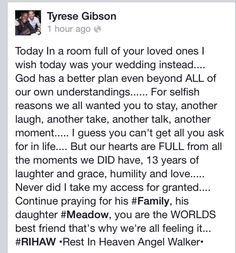 Tyrese posted this after Paul Walkers funeral, December 14, 2013