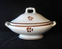 "Antique Ironstone Covered Tureen by James Wileman in rare copper luster ""Morning Glory"" Tea Leaf Variation"