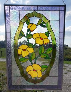 Yellow Flowers Stained Glass Panel - Delphi Stained Glass