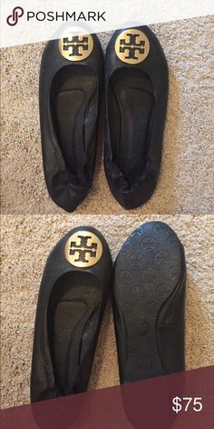 Tory Burch Ballet Flats Slightly worn, but good condition. Great, classy shoes. Tory Burch Shoes Flats & Loafers