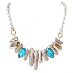 Quartz & Crystal Necklace - Silver.  #necklaces #jewelry  9thelm.com