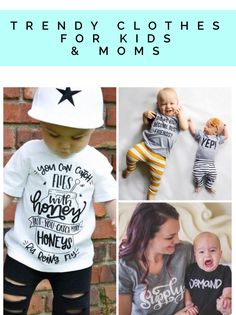 The cutest and most stylish Instagramable kid's tees and mom shirts. #momlife mommy and me matching sets, twins sets, triplet sets, baby and toddler boy clothes, baby girl clothes and more.