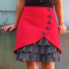Rosalee ruffle front skirt.......the plain cover could be a cool switch with other skirts