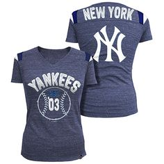 192f63ecce09a New York Yankees Women s Throwback Tri-Natural V-neck T-Shirt by 5th